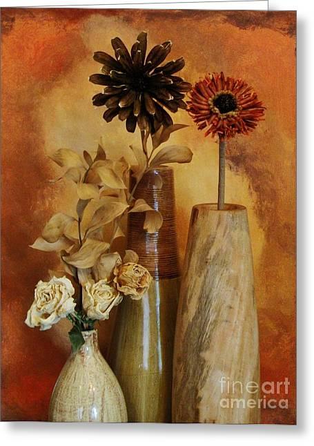 Mango Greeting Cards - Three Vases of Dried Flowers Greeting Card by Marsha Heiken