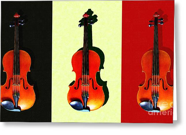 Wood Instruments Greeting Cards - Three Violins . Painterly Greeting Card by Wingsdomain Art and Photography