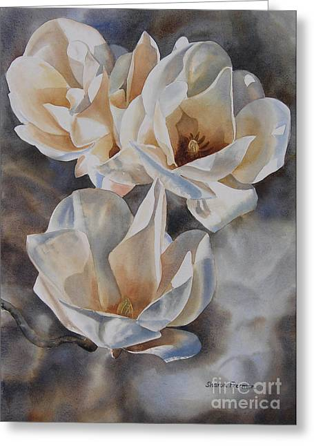 White Paintings Greeting Cards - Three White Magnolias Greeting Card by Sharon Freeman