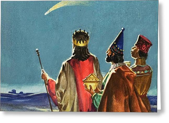 Recently Sold -  - Star Of Bethlehem Greeting Cards - Three Wise Men Greeting Card by English School