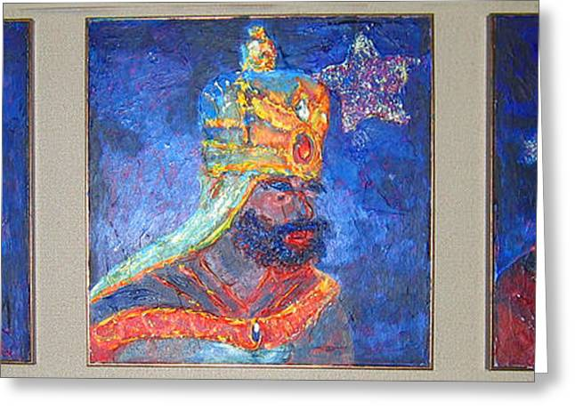 Tarjetas Greeting Cards - Three Wise Men-Reyes Magos-triptico Greeting Card by Estela Robles