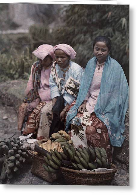 Mid Adult Women Greeting Cards - Three Women Traders Sit Greeting Card by W. Robert Moore