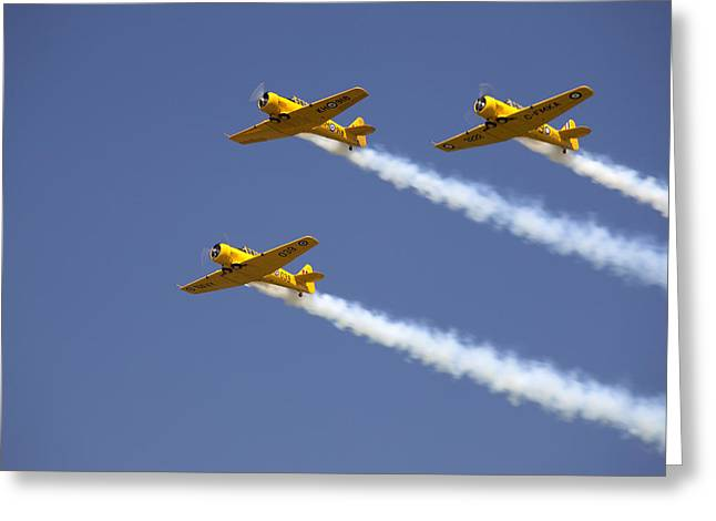 Smoke Trail Greeting Cards - Three Yellow Harvards Flying In Unison Greeting Card by Pete Ryan