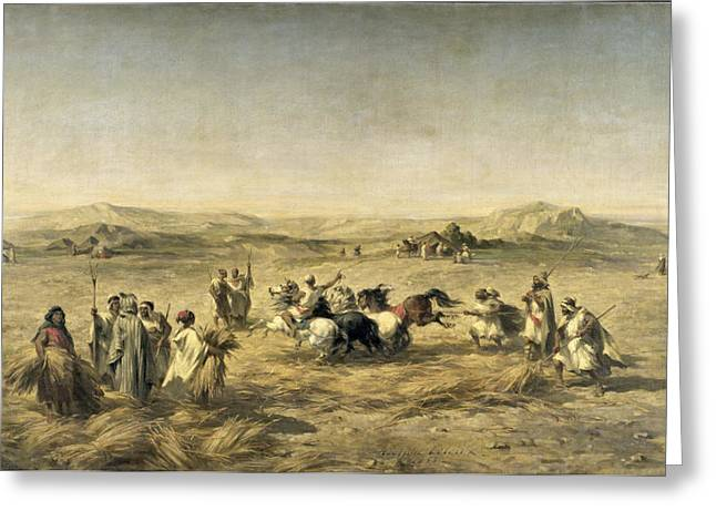 1813 Greeting Cards - Threshing Wheat in Algeria Greeting Card by Adolphe Pierre Leleux