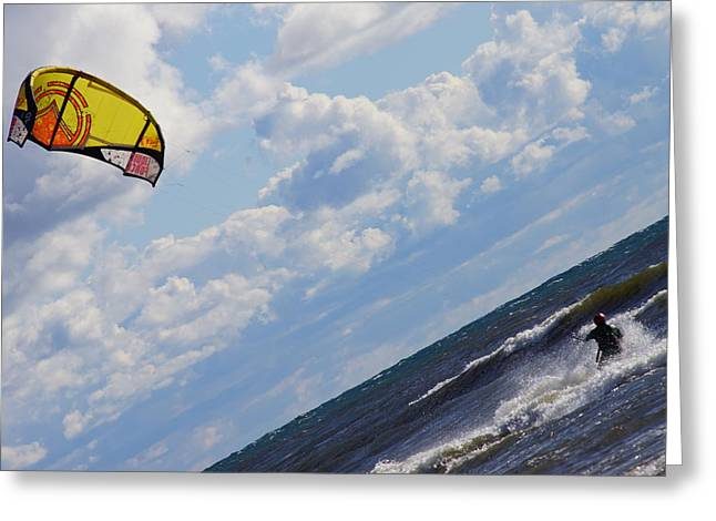 Kite Surfing Greeting Cards - Thrill Ride Greeting Card by Sandra Kotecki