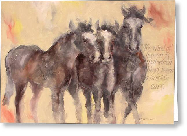 Horses Paintings Greeting Cards - Through A Horses Ears Greeting Card by Ron Patterson