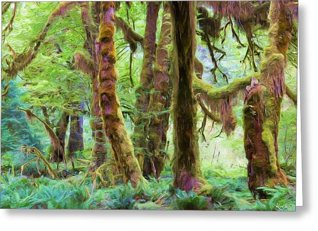 Lichen Image Greeting Cards - Through Moss Covered Trees Greeting Card by Heidi Smith