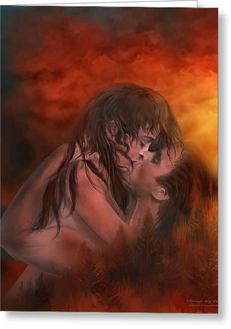 Couple Kissing Greeting Cards - Through My Door Greeting Card by Carol Cavalaris