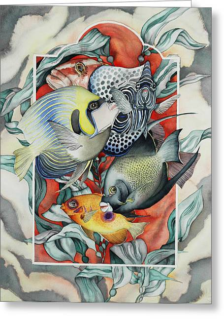 Reef Fish Paintings Greeting Cards - Through my underwater front window Greeting Card by Liduine Bekman