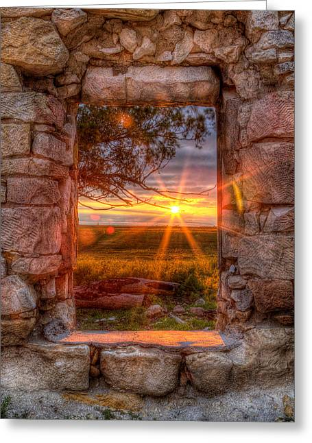 Window Frame Greeting Cards - Through the Bedroom Window Greeting Card by Thomas Zimmerman