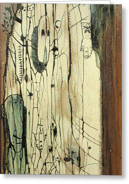 Character Mixed Media Greeting Cards - Through the cracks Greeting Card by Konrad Geel