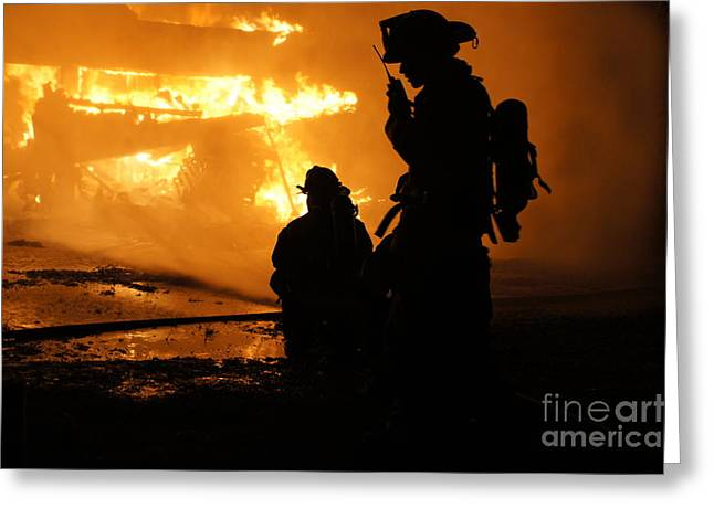 Fire Department Greeting Cards - Through the Flames Greeting Card by Benanne Stiens