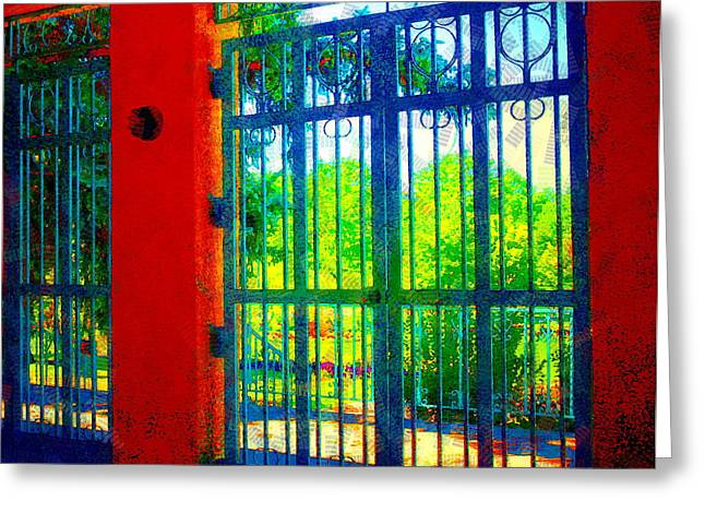 Garden Scene Digital Art Greeting Cards - Through the Garden Gate Greeting Card by Christine S Zipps