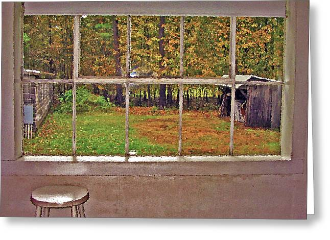 Shed Digital Art Greeting Cards - Through the Glass Greeting Card by Steve Ohlsen