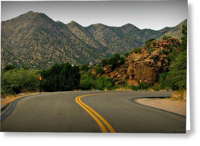 Rincon Greeting Cards - Through the High Desert Hills Greeting Card by Aaron Burrows