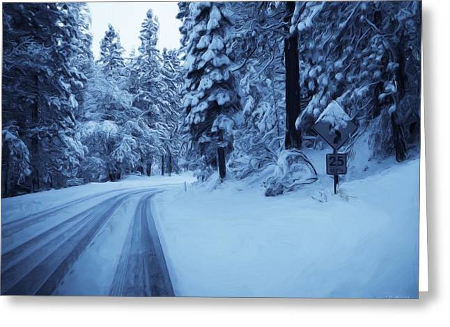 Road Travel Greeting Cards - Through The Snow Greeting Card by Heidi Smith
