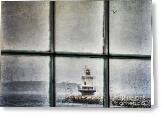 Coastal Maine Greeting Cards - Through the Window Greeting Card by Darren Fisher