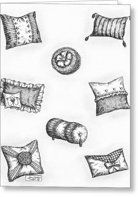 Pen And Paper Drawings Greeting Cards - Throw Pillows Greeting Card by Adam Zebediah Joseph