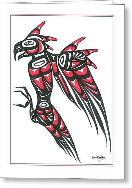 Speakthunder Berry Greeting Cards - Thunder bird red and black Greeting Card by Speakthunder Berry