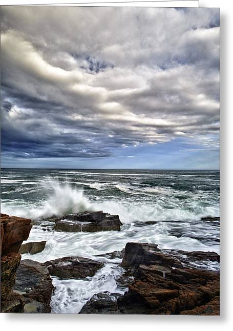 Thunder Hole Greeting Card by Rick Berk