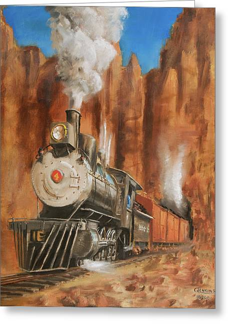 Train Greeting Cards - Thunder in Cathedral Canyon Greeting Card by Christopher Jenkins