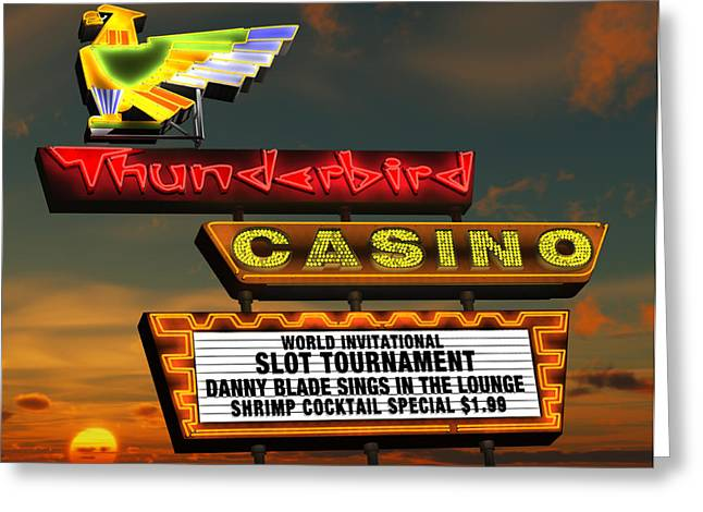 Sunset Posters Digital Art Greeting Cards - Thunderbird Casino Greeting Card by Anthony Ross