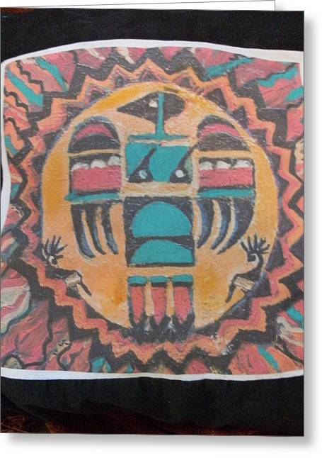 Gift Tapestries - Textiles Greeting Cards - Thunderbird Throw Pillow Nice and soft Greeting Card by Anne-Elizabeth Whiteway