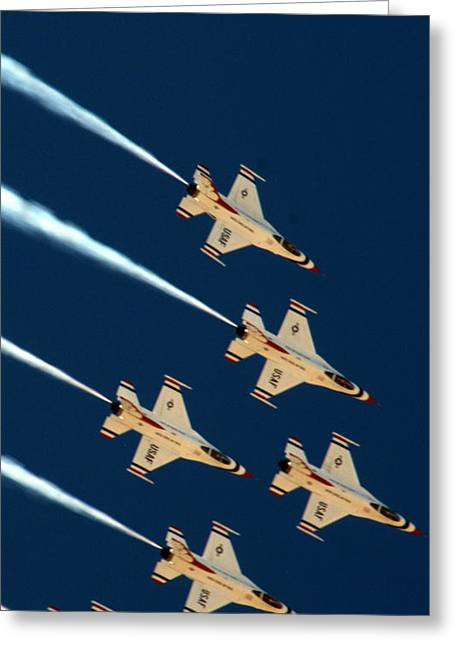 Armed Services Greeting Cards - Thunderbirds  Greeting Card by Karen Musick