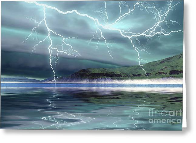 Images Lightning Digital Art Greeting Cards - Thunderclouds And Lightning Move Greeting Card by Corey Ford