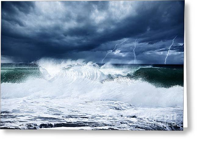 Atlantic Beaches Greeting Cards - Thunderstorm and lightning on the beach Greeting Card by Anna Omelchenko