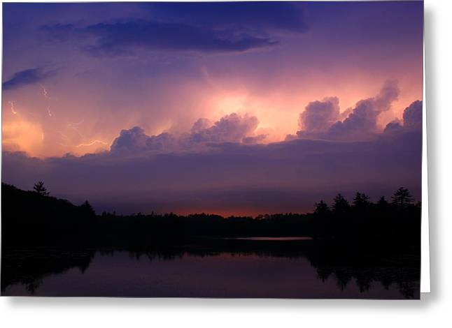 Thunderstorm Greeting Cards - Thunderstorm In Cloud Lightning over Pond Greeting Card by John Burk