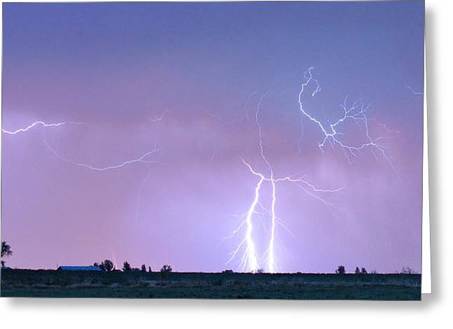 Photography Lightning Greeting Cards - Thunderstorm on the Colorado Plains Panorama Greeting Card by James BO  Insogna
