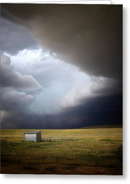 Dark Gray Blue Greeting Cards - Thunderstorm over the Plains Greeting Card by Ellen Heaverlo