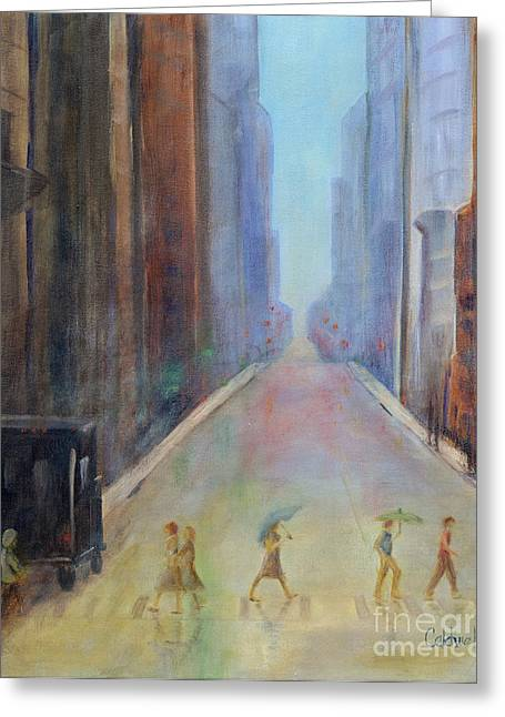 Crosswalk Paintings Greeting Cards - Thunderstorm Greeting Card by Patricia Caldwell