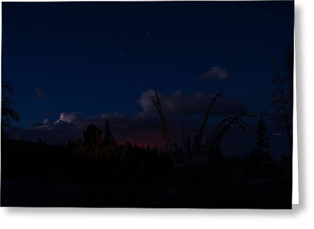 Wildfires Greeting Cards - Thunderstorm with wildfire glowing from Minarets Vista Mammoth Lakes California Greeting Card by Scott McGuire