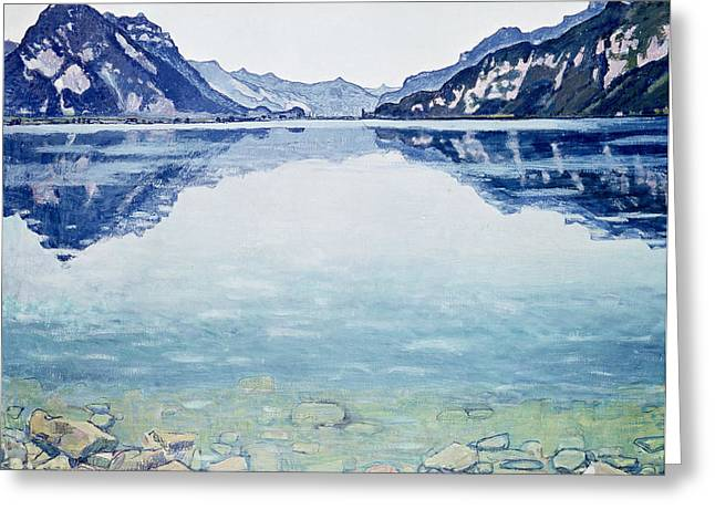 Natural Beauty Paintings Greeting Cards - Thunersee von Leissigen Greeting Card by Ferdinand Hodler