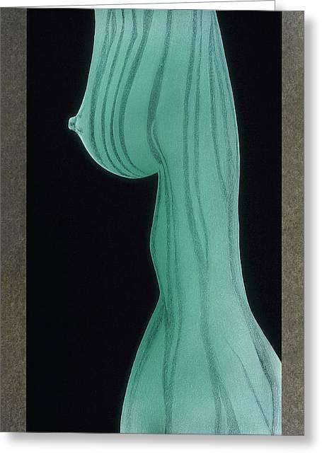Nude Girl Glass Art Greeting Cards - Thuno Greeting Card by Akoko Okeyo