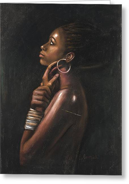 African American Pastels Greeting Cards - Tia Greeting Card by L Cooper
