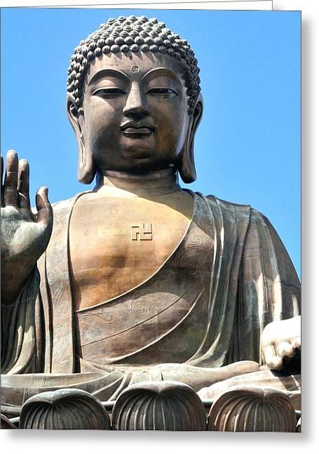 """zen Buddhism"" Greeting Cards - Tian Tan Buddha Greeting Card by Joe  Ng"