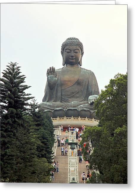 Statue Portrait Photographs Greeting Cards - Tian Tan Buddha Greeting Card by Valentino Visentini