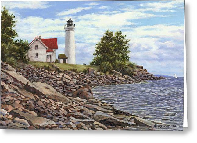 Lighthouse By The Sea Greeting Cards - Tibbetts Point Lighthouse Greeting Card by Richard De Wolfe