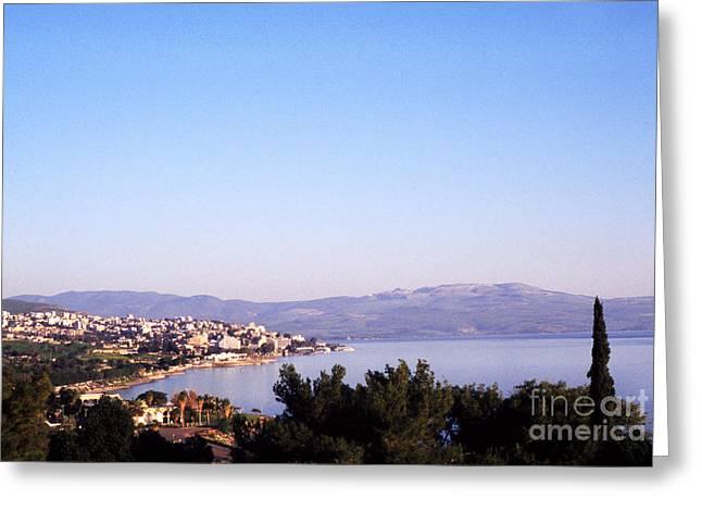 Jesus Sermon Greeting Cards - Tiberias Sea of Galilee Israel Greeting Card by Thomas R Fletcher