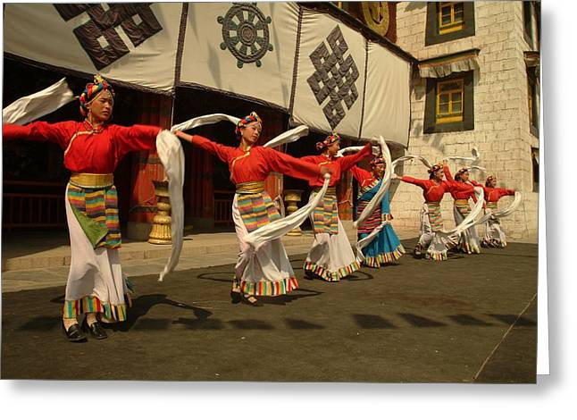Chinese Architecture And Art Greeting Cards - Tibetan Dancers Perform At The Chinese Greeting Card by Richard Nowitz