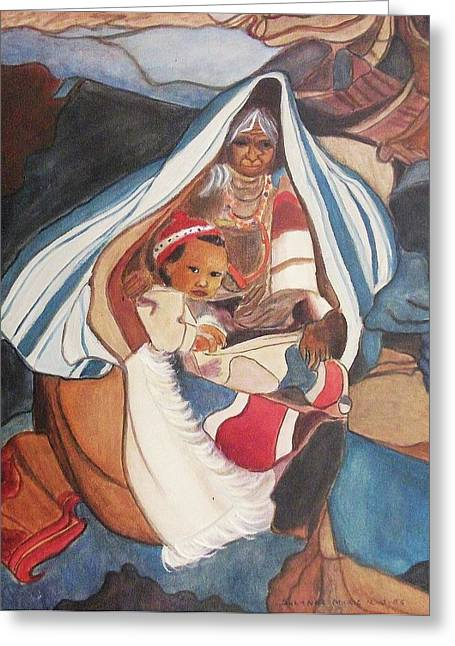 Suzanne Molleur Paintings Greeting Cards - Tibetan Grandmother and Baby Greeting Card by Suzanne  Marie Leclair