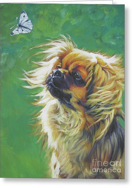 Cabbages Greeting Cards - Tibetan Spaniel and cabbage white butterfly Greeting Card by Lee Ann Shepard