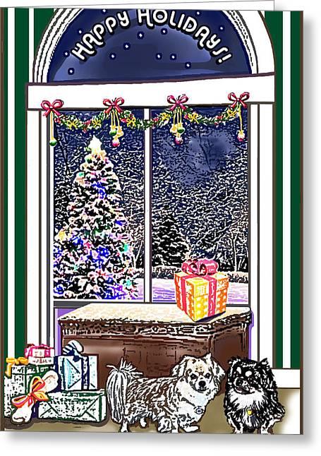 Spaniel Pastels Greeting Cards - Tibetan Spaniels Holiday Wish Greeting Card by Carol OMalley