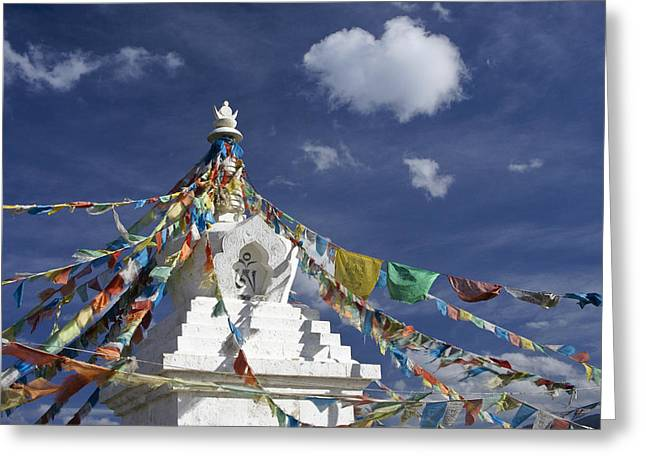 Tibetan Buddhism Greeting Cards - Tibetan Stupa with Prayer Flags Greeting Card by Michele Burgess