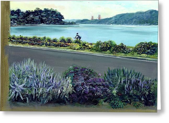 Golden Gate Drawings Greeting Cards - Tiburon Bike Path Greeting Card by Graciela Placak
