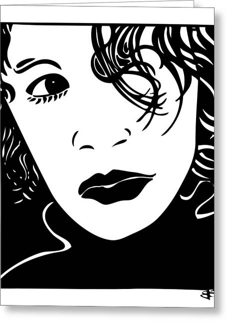 Headshot Drawings Greeting Cards - Tica Greeting Card by Jeff Stein