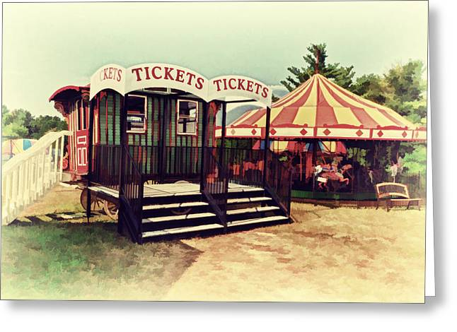 Carnival Ride Greeting Cards - Tickets Here Greeting Card by Kathy Jennings